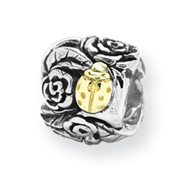 Sterling Silver & 14k Gold Reflections Ladybug Floral Bead