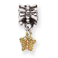 Sterling Silver & 14K Gold Reflections Butterfly Dangle Bead
