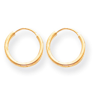 14K Gold 1.5x10mm Endless Hoop Earrings