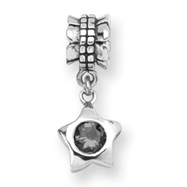 Sterling Silver Reflections  Smokey Cubic Zirconia Star Dangle Bead