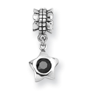 Sterling Silver Reflections Black Cubic Zirconia Star Dangle Bead