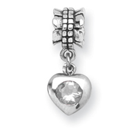 Sterling Silver Reflections Cubic Zirconia Heart Dangle Bead