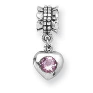 Sterling Silver Reflections Pink Cubic Zirconia Heart Dangle Bead