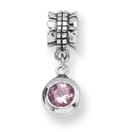 Sterling Silver Reflections Pink Cubic Zirconia Round Dangle Bead