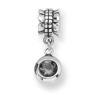 Sterling Silver Reflections Smokey Cubic Zirconia Round Dangle Bead