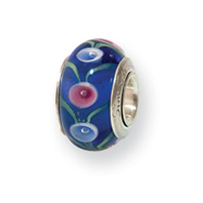 Sterling Silver Reflections Kids Blue Murano Glass Bead