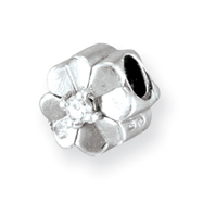Sterling Silver Reflections Cubic Zirconia Clover Bead
