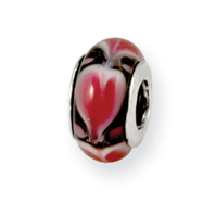 Sterling Silver Reflections Red Heart Murano Glass Bead