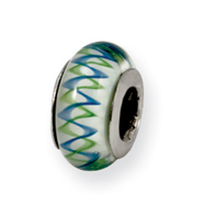 Sterling Silver Reflections Green/Blue Murano Glass Bead