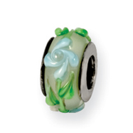 Sterling Silver Reflections Green/Blue Floral Murano Glass Bead