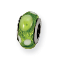 Sterling Silver Reflections Green/White Murano Glass Bead
