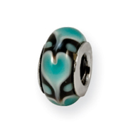Sterling Silver Reflections Blue Heart Murano Glass Bead