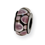 Sterling Silver Reflections Purple/Black Murano Glass Bead