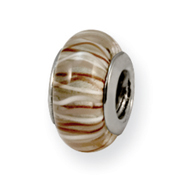 Sterling Silver Reflections Brown/White Murano Glass Bead