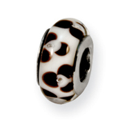 Sterling Silver Reflections Brown Floral Murano Glass Bead