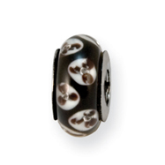 Sterling Silver Reflections Black Floral Murano Glass Bead