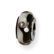 Sterling Silver Reflections Black/Grey Murano Glass Bead