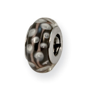 Sterling Silver Reflections Black/White Murano Glass Bead