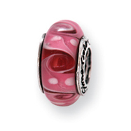 Sterling Silver Reflections Pink Murano Glass Bead