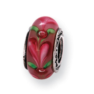 Sterling Silver Reflections Pink Heart Murano Glass Bead
