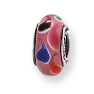 Sterling Silver Reflections Pink/Blue Murano Glass Bead