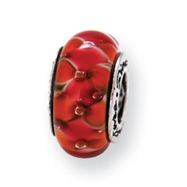 Sterling Silver Reflections Orange Murano Glass Bead