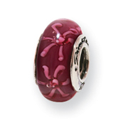 Sterling Silver Reflections Purple Floral Murano Glass Bead
