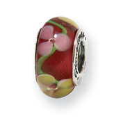 Sterling Silver Reflections Red Floral Murano Glass Bead
