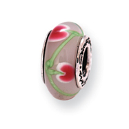 Sterling Silver Reflections Pink/Green Murano Glass Bead