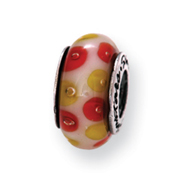 Sterling Silver Reflections Red/White Murano Glass Bead