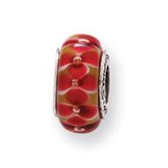Sterling Silver Reflections Pink Floral Murano Glass Bead