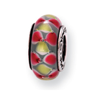 Sterling Silver Reflections Pink/Yellow Murano Glass Bead
