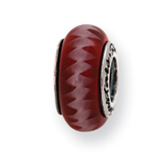 Sterling Silver Reflections Red Murano Glass Bead