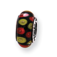 Sterling Silver Reflections Red/Black Murano Glass Bead