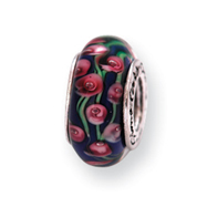 Sterling Silver Reflections Blue Floral Murano Glass Bead