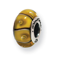 Sterling Silver Reflections Yellow Murano Glass Bead
