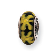 Sterling Silver Reflections Yellow/Black Murano Glass Bead