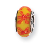Sterling Silver Reflections Yellow/Orange Murano Glass Bead