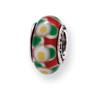 Sterling Silver Reflections Yellow/Red Murano Glass Bead