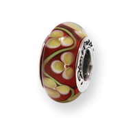 Sterling Silver Reflections Yellow/Red Floral Murano Glass Bead