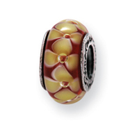Sterling Silver Reflections Yellow Floral Murano Glass Bead