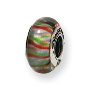 Sterling Silver Reflections Green Pastel Striped Hand-blown Glass Bead