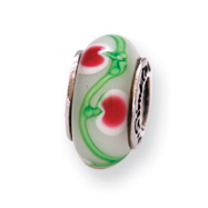Sterling Silver Reflections White/Pink/Green Hand-blown Glass Bead