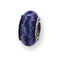 Sterling Silver Reflections Blue Hand-blown Glass Bead