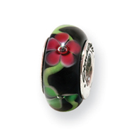 Sterling Silver Reflections Black/Red Hand-blown Glass Bead