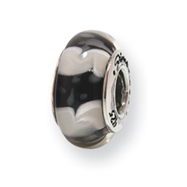 Sterling Silver Reflections Black/White Hand-blown Glass Bead