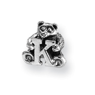 Sterling Silver Reflections Kids Letter K Bead