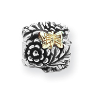 Sterling Silver & 14K GoldReflections Butterfly Floral Bead