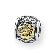 Sterling Silver & 14k Gold Reflections Floral Bead