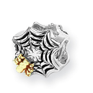 Sterling Silver & 14k Gold Reflections Spider Web Bead